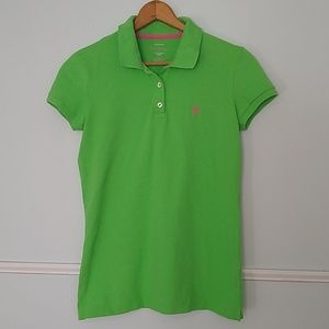 Lilly Pulitzer island polo green and pink M EUC